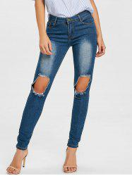 Skinny Knee Distressed Jeans -