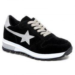 Two Tone Star Patched Suede Sneakers -