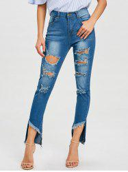 Frayed High Waist Ninth Ripped Jeans -