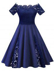 Lace Panel Off The Shoulder Plus Size Dress -