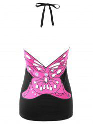 Open Back Butterfly Pattern Halter Tank Top -