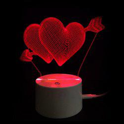 Valentine's Day Gift Touch Switch Arrow through Double Hearts LED Night Light -