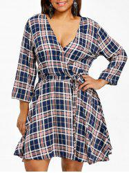 Plaid Surplice Belted Plus Size Dress -