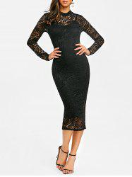 Lace Midi Party Bodycon Dress -
