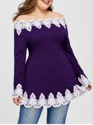 Plus Size Embroidery Off The Shoulder Top -