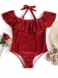 Velvet Halter Plus Size Swimsuit -