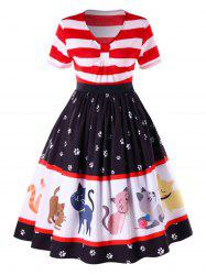 Plus Size Kitten Empire Waist Swing Dress -