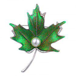 Rhinestone Faux Pearl Maple Leaf Brooch -