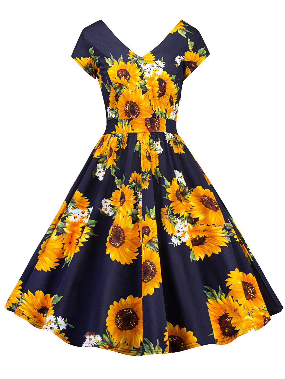 Shops Vintage Sunflower Print Skater Pin Up Dress