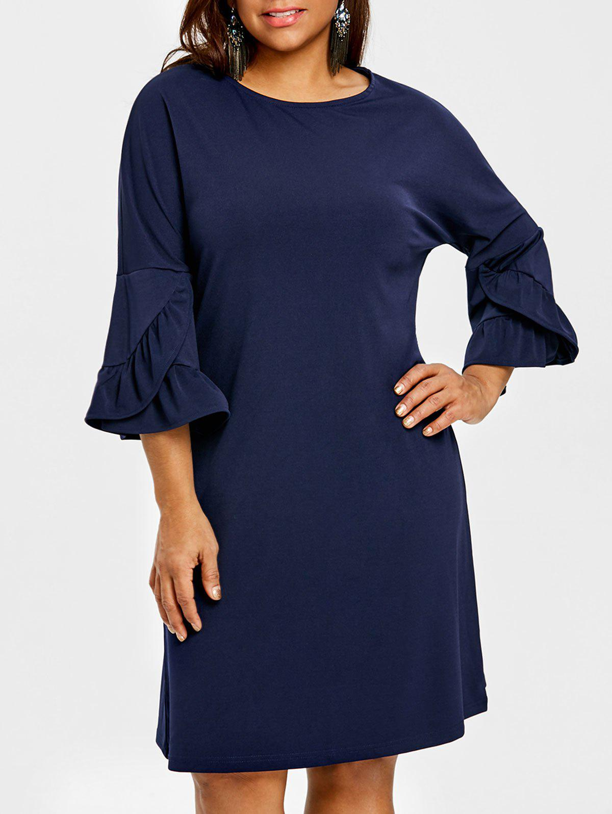 Cheap Bell Sleeve Drop Shoulder Plus Size Dress