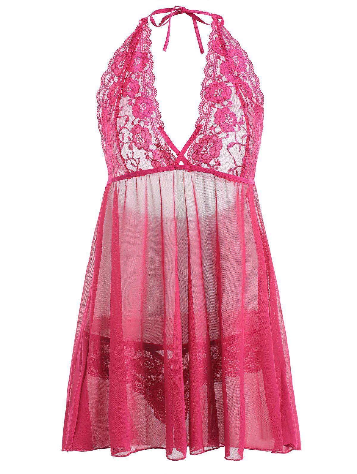 Trendy Plus Size Lace Sheer Halter Plunge Babydoll