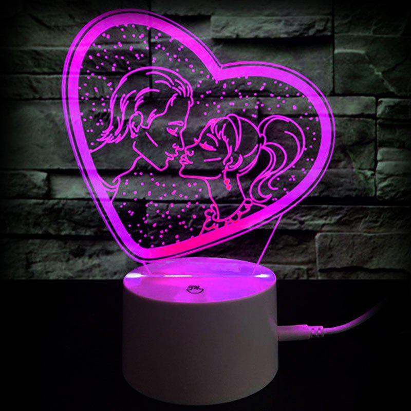Affordable Gift Valentine's Day Gift Romantic Kiss Color Changing 3D Vision Night Light
