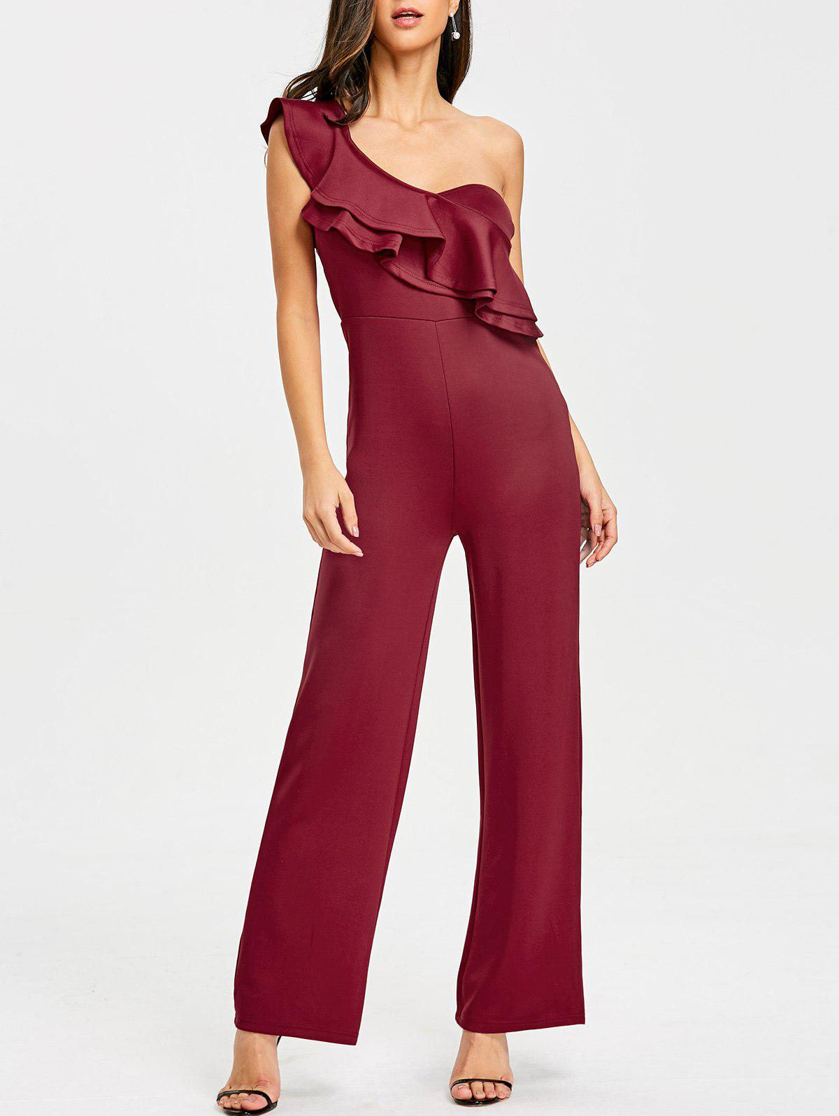 Best Ruffle One Shoulder Wide Leg Jumpsuit
