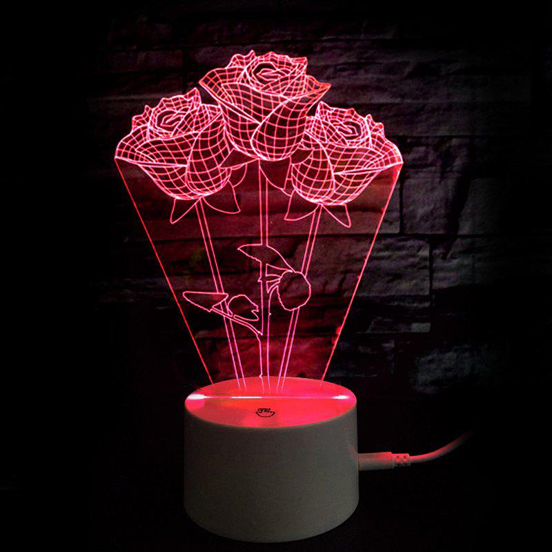 Chic Mothers Day Gift Valentine 9 Color Changing Roses Table Night Light