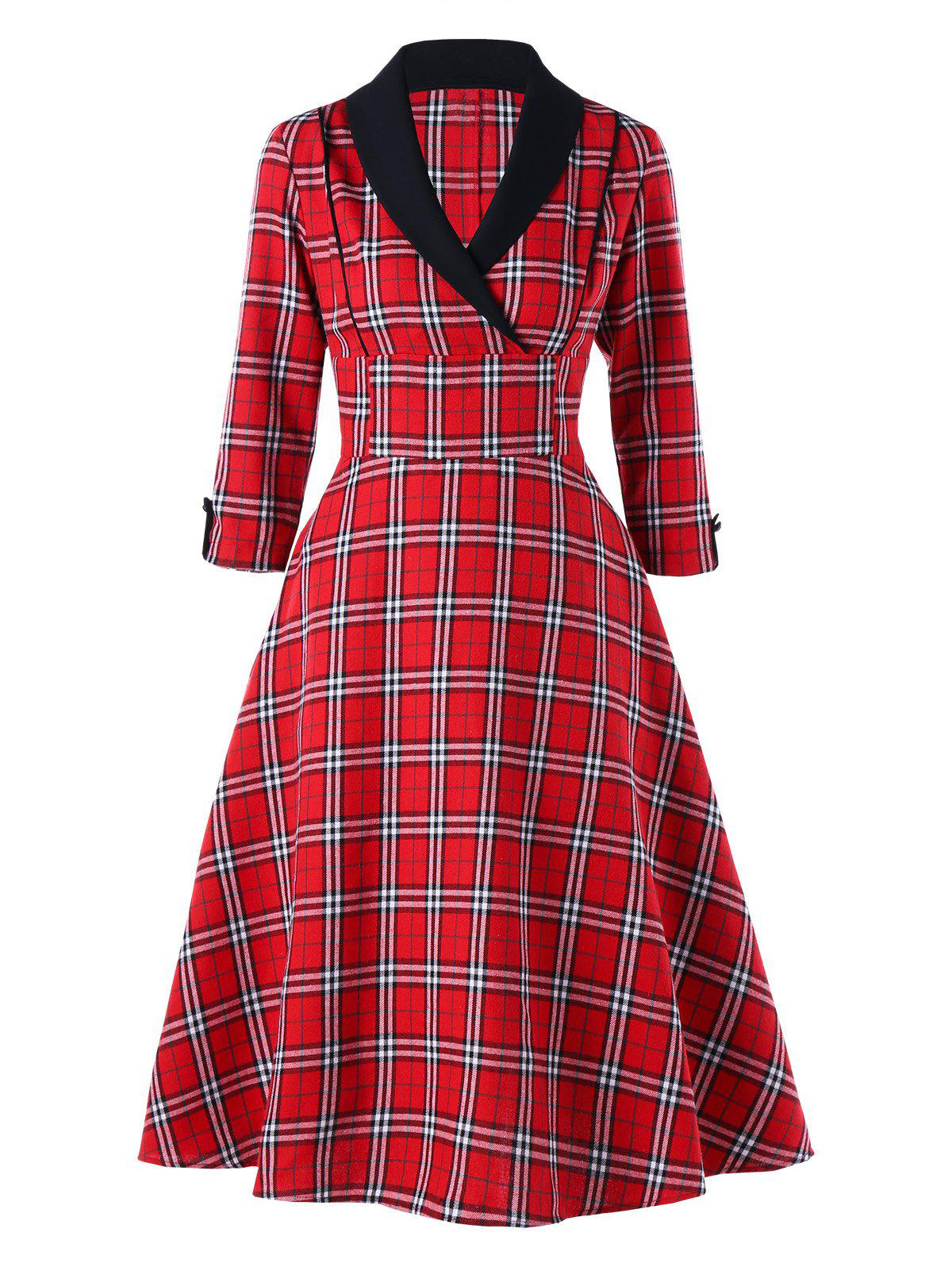Buy Empire Waist Plaid Shawl Collar Dress