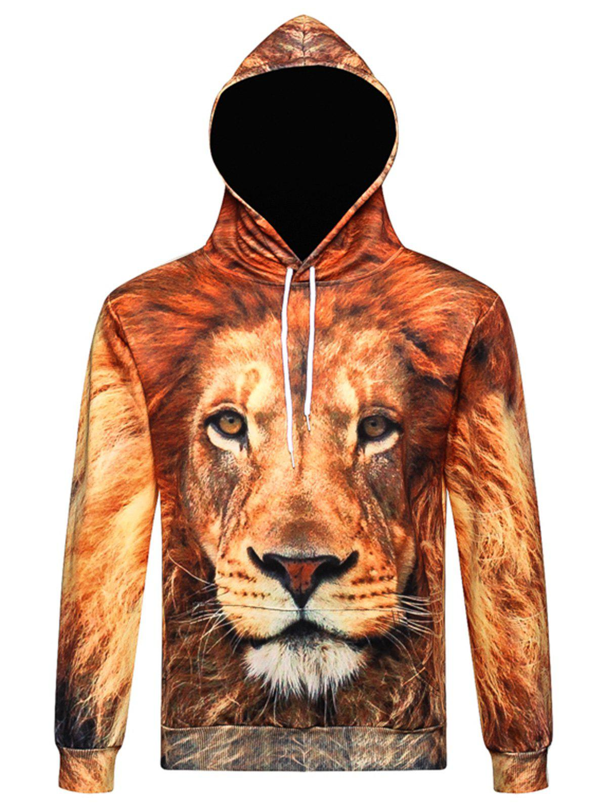 Latest Drawstring 3D Lion Print Pullover Hoodie