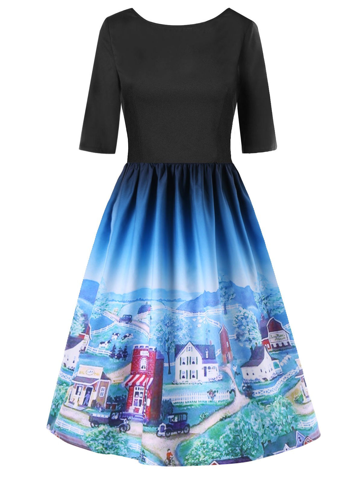 42 Off Cartoon Village Print Backless Flare Dress Rosegal