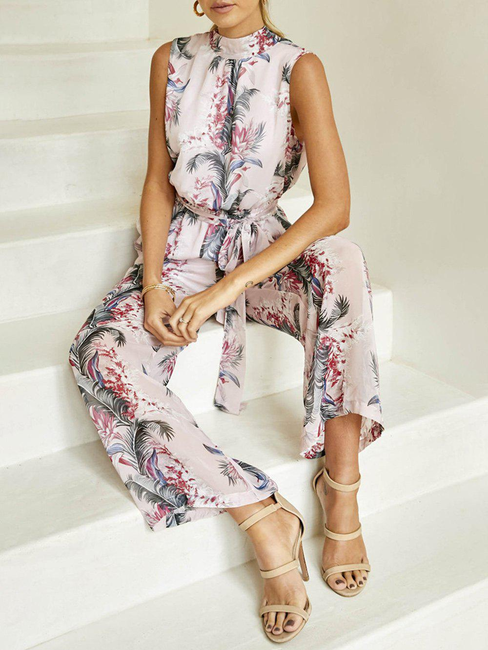 Cheap Back Cut Out Printed Jumpsuit