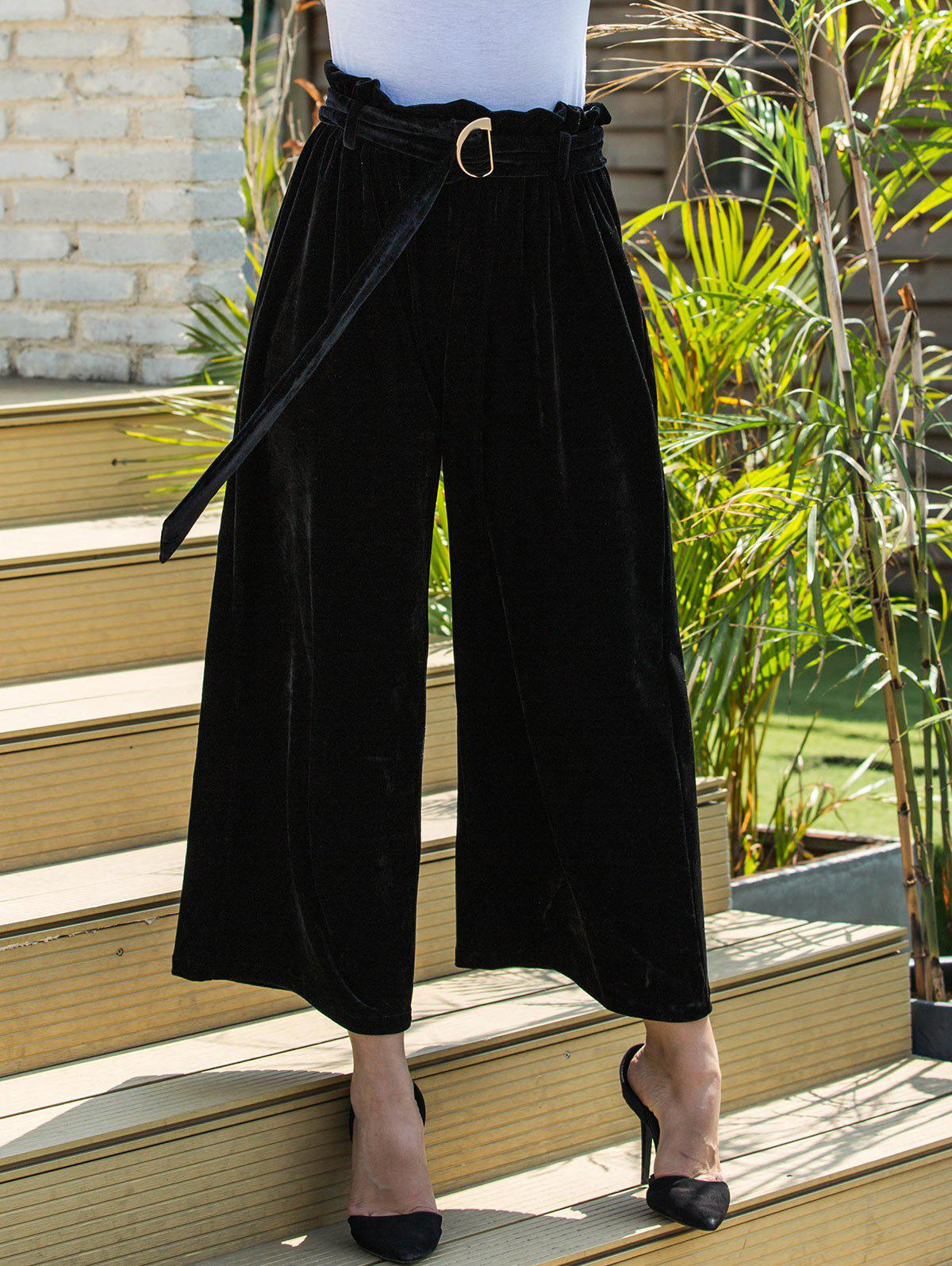 Sale Belted Velvet Wide Leg Pants