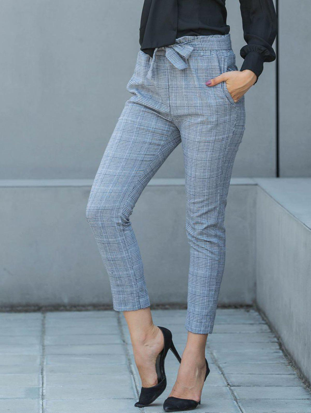 Outfits Belted Plaid Pencil Pants