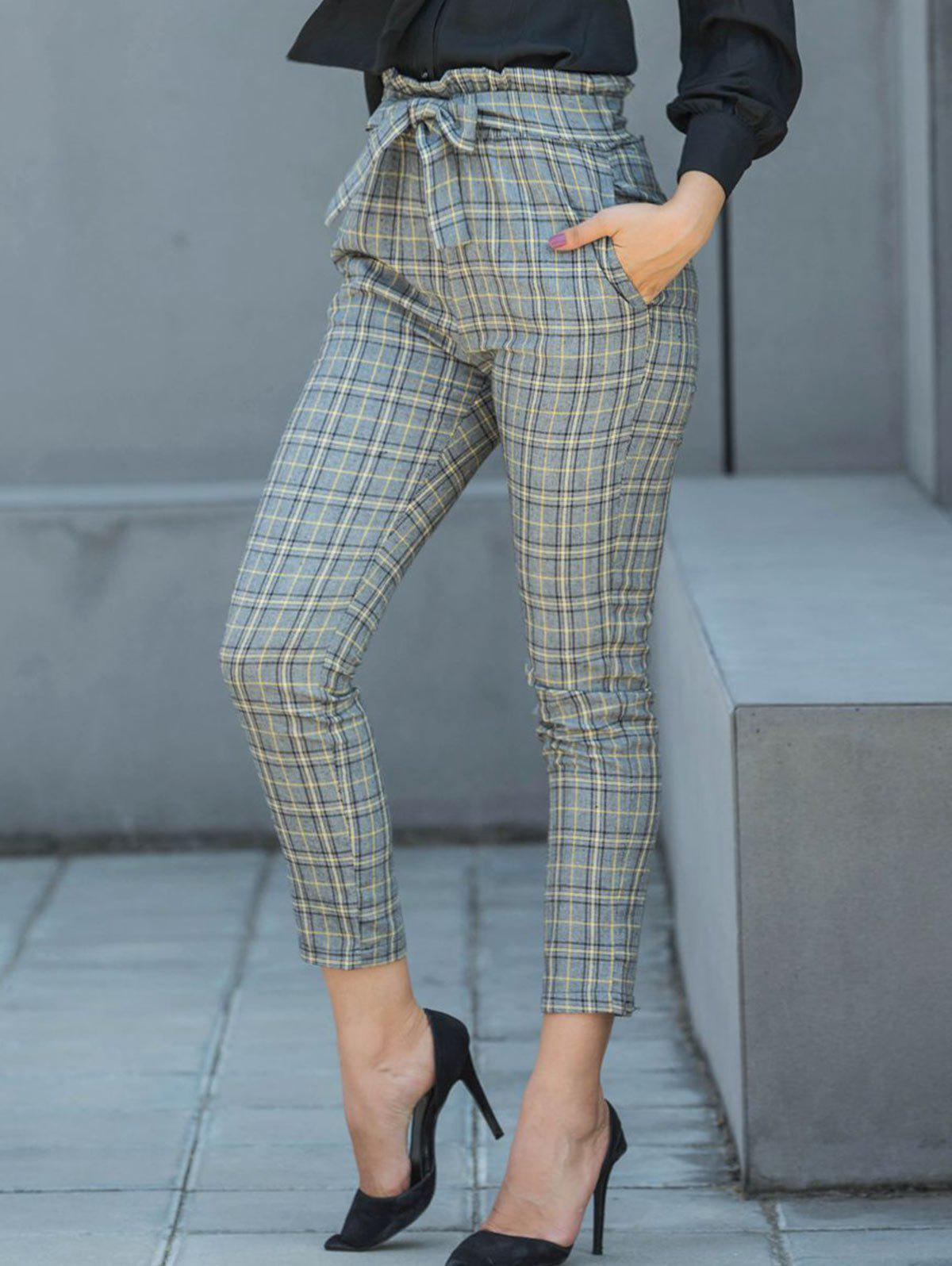 Sale Belted Plaid Pencil Pants