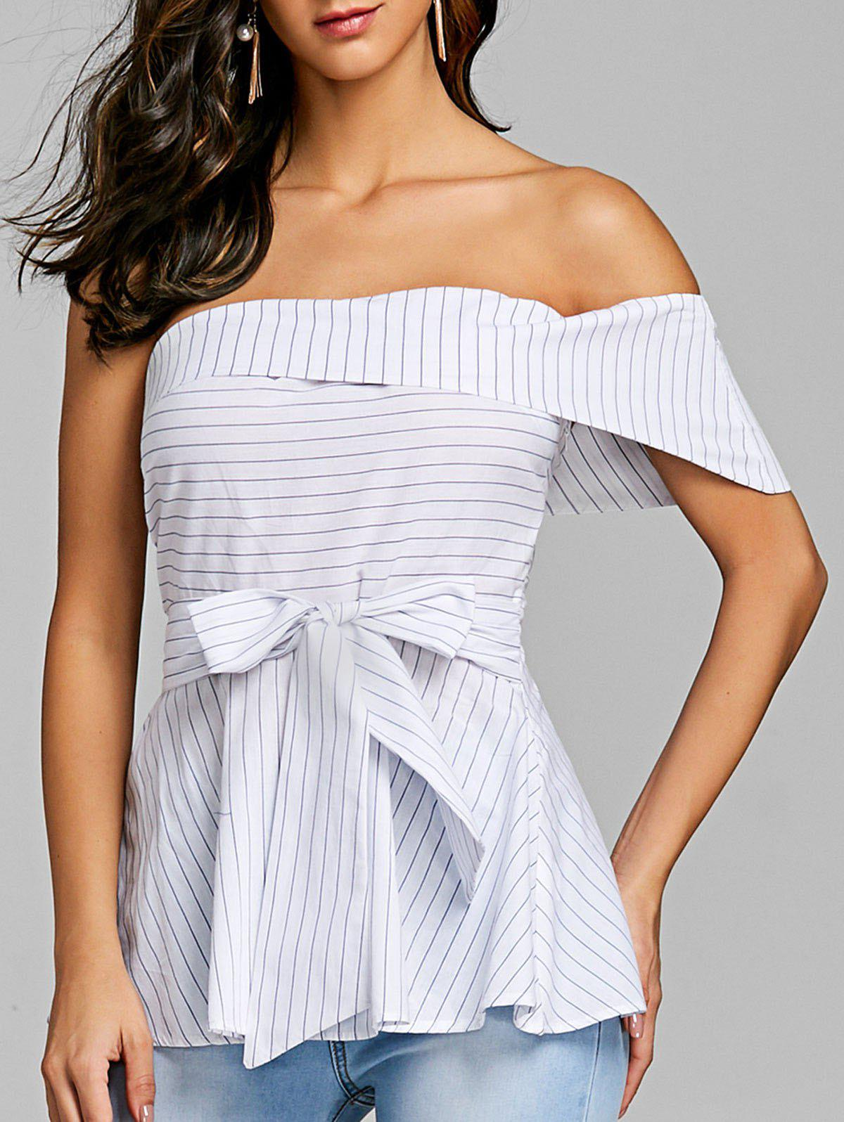 Online Bowknot One Shoulder Peplum Blouse