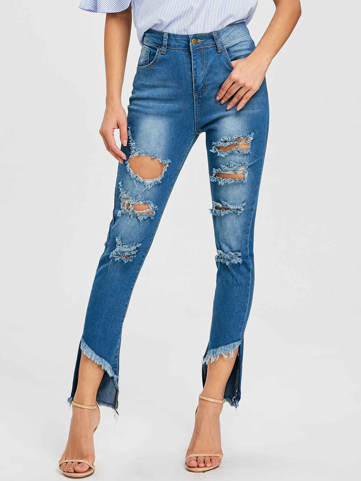Unique Frayed High Waist Ninth Ripped Jeans