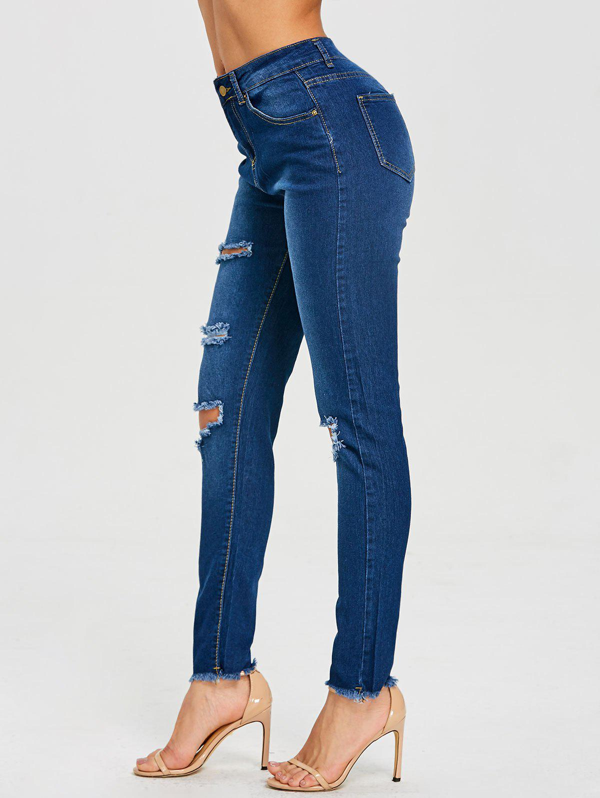 Sale High Waist Frayed Ripped Jeans
