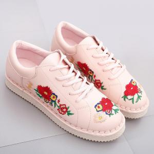 ... Round Toe Floral Embroidered Sneakers ...