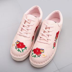 Round Toe Floral Embroidered Sneakers -