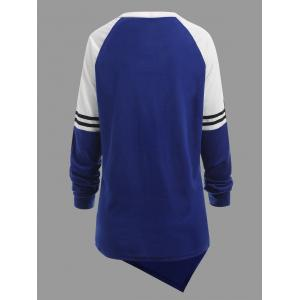 Plus Size Striped Raglan Sleeve Asymmetrical Sweatshirt -