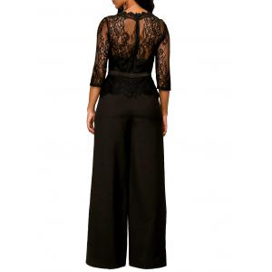 Peplum Lace Panel Jumpsuit -
