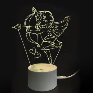 Valentine's Day 3D Cupid's Bow Decor USB Charging LED Touch Night Light -