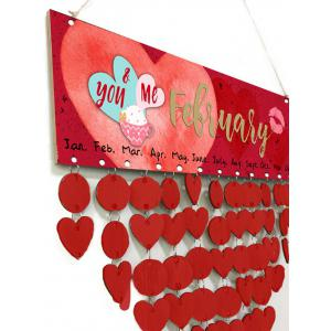 Wooden DIY Valentine's Day Hearts Pattern Calendar Board -