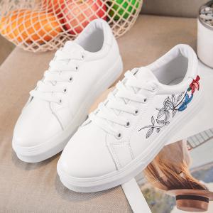 Faux Leather Flowers Skate Shoes -