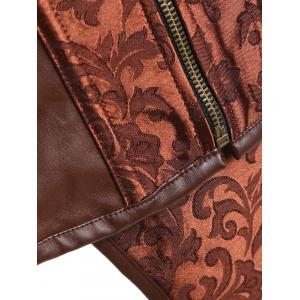 Brocade Zip Faux Leather Insert Corset -