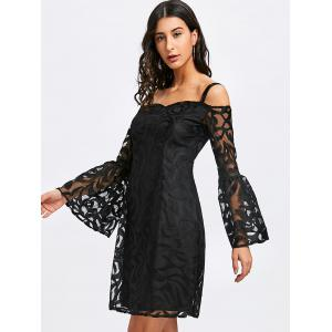 Cold Shoulder Bell Sleeve Lace Bodycon Dress -