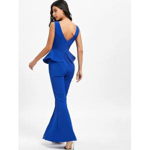 Peplum High Slit Flare Jumpsuit -