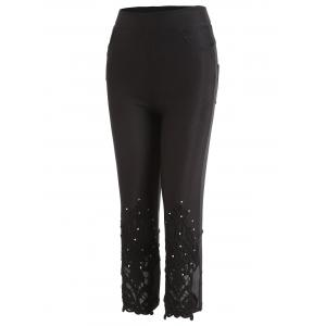 Beading Lace Panel Skinny Capri Pants -