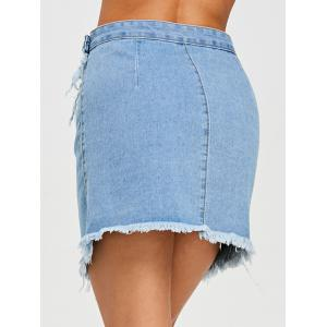Button Fly Frayed Hem Denim Skirt -