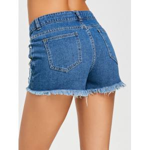 Embroidery Frayed Hem Denim Shorts -