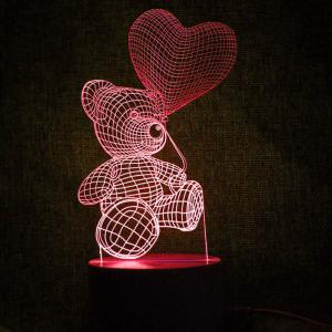 Love Heart Bear Touch Colors Change LED Night Light -