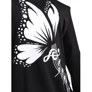 Butterfly Musical Notes Print Plus Size T-shirt -