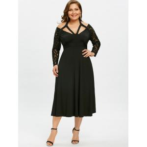 Cut Out Plus Size Empire Waist Flare Dress -