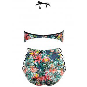 Flower Print Plus Size Lattice Side Bikini Set -