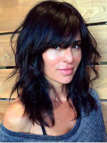 Best Medium Inclined Bang Natural Wavy Human Hair Wig