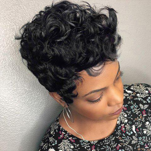 Trendy Short Side Bang Fluffy Curly Human Hair Wig