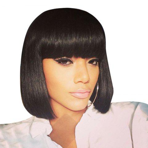 Fashion Short Neat Bang Straight Bob Human Hair Wig