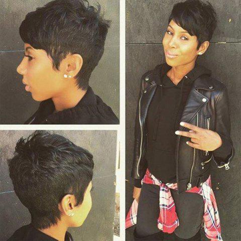Outfits Short Inclined Bang Layered Natural Straight Human Hair Wig