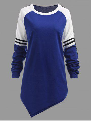 Outfits Plus Size Striped Raglan Sleeve Asymmetrical Sweatshirt